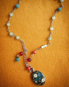 Nog even lente om je nek #millefiori #Boho #beaded #resin #necklace