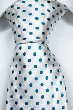 Tie from Tieroom, Notch PABLO, white base & ice cold turquoise dots