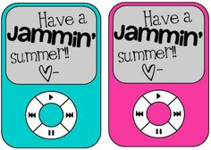 Classroom Freebies: End of the Year Freebie, send kids home with a collection of hit songs from this year and this fun little note for boys and girls!