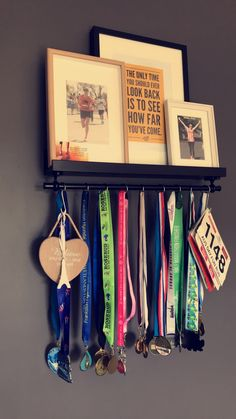 Medal hanger. Simple, easy to make. Ikea hack. All you need is a Mosslanda picture rail and a Fintorp rail. A few screw holes and you're done! Finish it off with some hooks for your medals and racebibs, plus some framed pics or inspirational quotes.