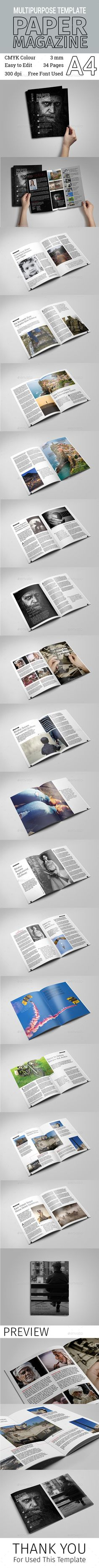 Multipurpose Paper Magazine Template InDesign INDD #design Download: http://graphicriver.net/item/multipurpose-paper-magazine-template/14120148?ref=ksioks