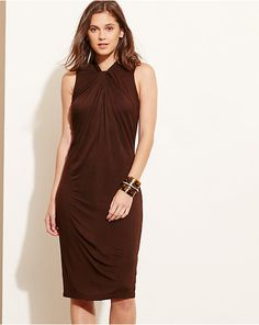 Twist-Neck Jersey Dress