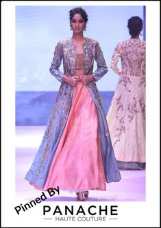 Hand-Embroidered Light Blue Jacket with Peach Lehenga For customisations please contact our sales team through WhatsApp Raw Silk Lehenga, Blue Lehenga, Lehenga Style, Jacket Lehenga, Lehenga Gown, Bridal Lehenga, Mehendi Outfits, Pakistani Outfits, Indian Outfits