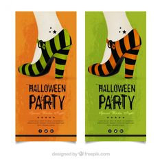 Halloween party flyers with high heels Free Vector