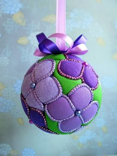 Purple Hydrangea Kimekomi Ornament by OrnamentDesigns on Etsy