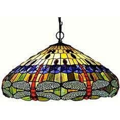 $229.99 Tiffany-style Dragonfly Hanging Light - Handcrafted using the same techniques that were developed by Louis Comfort Tiffany in the early 1900s, this beautiful Tiffany-style table lamp contains hand-cut pieces of stained glass, each wrapped in fine copper foil.  @overstock.com