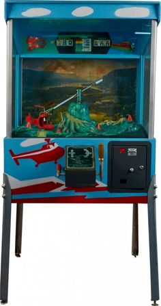 25 Cent Whirly Bird Floor Helicopter Game Arcade Machine, Jim Stansfield Vending Co. Arcade Game Machines, Arcade Machine, Arcade Games, Vending Machines, Vintage Video Games, Vintage Games, Penny Arcade, Retro Arcade, Old Games