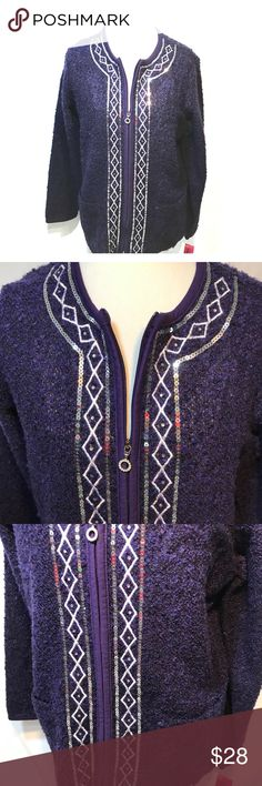 "NWT Cathy Daniels Purple Zip Up Sweater Purple Cathy Daniels zip up sweater. Measurements are approximately: sleeves 24"", armpit to armpit 21"", shoulder to bottom hem 25.5"". Plus it has front pockets! 😊 Cathy Daniels Sweaters Cardigans"