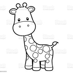 Cute Giraffe Coloring Page Vector Illustration on White cute, black and white giraffe outline cartoon vector illustration. Animal stock vector Giraffe Coloring Pages, Easy Coloring Pages, Coloring Books, Giraffe Cartoon Drawing, Cartoon Drawings, Giraffe Colors, Cute Giraffe, Giraffe Illustration, Animal Illustrations