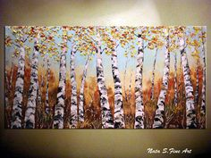 """Landscape ORIGINAL Painting.Textured Abstract Contemporary Art.Palette Knife.Birch Forest,Trees,Fall,Autumn Painting 24"""" x 48"""" by Nata S."""