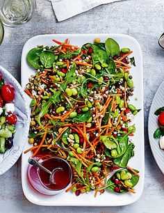 Marks and spencer Rainbow salad This vibrant mix of edamame soya beans, green lentils, red peppers, pomegranate seeds, spinach, pearl couscous and chickpeas has a gorgeous honey and lime dressin