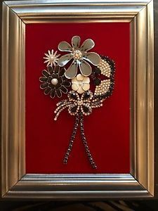 VINTAGE-JEWELRY-FRAMED-ART-NOT-CHRISTMAS-TREE-FLOWER-BOUQUET-RETRO-80-039-s