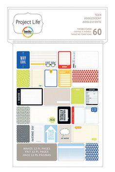 Project Life Theme Card Pack  Teen Boy  Becky Higgins by Frasizzle, $6.99