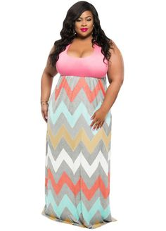 Plus Size Sleeveless Top Multicolor Zigzag Maxi Dress_Plus size Dress_Plus size Clothing_Sexy Lingeire | Cheap Plus Size Lingerie At Wholesale Price | Feelovely.com