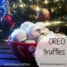 Oreo Truffles Recipe @ AVirtuousWoman.org #christmastraditions