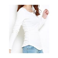 Korean Candy-colored Cotton Long-sleeved T-shirt Yellow Top M/L/XL @... via Polyvore