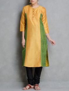 Buy Yellow Kantha Embroidered & Sequin Detailed Cotton Silk Kurta by Firroza Apparel Tunics Kurtas Between the Lines Hand Tops Online at Jaypore.com