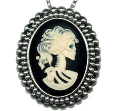 Vintage gothic Cameo Lapel Pins | In 1 Vintage/Gothic/Victorian Antique Silver/Black/Cream Skeleton ...