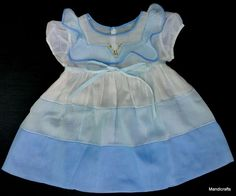 #Baby Toddler Dress #Blue White Faille #Nautical 15 mo 1960s Bear Reborn Doll Vintage