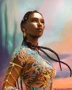 My version of Nehemia Ytger from Sarah J Maas's Throne of Glass series. Black Girl Art, Black Women Art, Black Art, Art Girl, Character Portraits, Character Art, Female Character Inspiration, Fantasy Characters, Female Characters