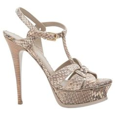 Preowned Ysl Beige 'tribute' Python Stiletto Sandals ($650) ❤ liked on Polyvore featuring shoes, sandals, brown, high heel shoes, beige high heel sandals, brown high heel sandals, stiletto high heel shoes and snake print sandals