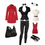 """""""casino night"""" outfit designed with polyvore #fashion #polyvore #red #black #bowtie"""
