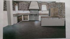 Kuchyne ve spolecenske mistnosti. Podlaha microtopping v kombinaci s dubem a reznym zdivem bude pusobit velmi prirozene. Autorka designu: @sandrarusty
