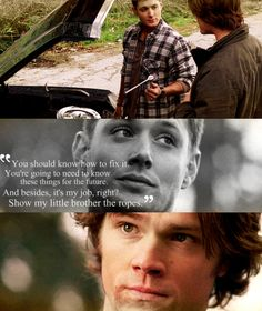 This was one of the sweetest parts ever. Sam was so surprised that Dean was letting him help with the Impala.
