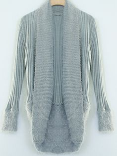 Makes me want to snuggle in front of fire! Grey Shawl Collar Contrast Faux Fur Trims Open Cardigan