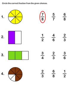 Math Worksheets, Grade-2 Worksheets, Fractions Worksheet I don't like worksheets but this gives a good basis for some activities involving fractions