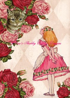 Altered Art Alice In Wonderland w Cheshire by JRaesShabbyCottage, $15.00