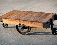Vintage Industrial Factory Cart Coffee Table - 54L x 27w x 17t - very early furniture salvaged repurposed weathered rustic