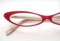 Vintage Slim Cat Eye Eyeglass Frames in Tramp Red ~ Back Thennish Vintage
