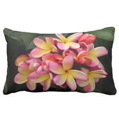 Pretty Pink and Yellow Plumeria Pillow