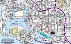San Diego Attractions Printable Map San Diego Map, Moving To San Diego, San Diego Travel, San Diego Beach, San Diego Attractions, San Diego Vacation, Hotel Del Coronado, San Diego Living, Printable Maps
