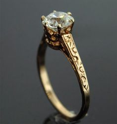 Antique Engagement Ring - 10k Rose Gold with European Cut Diamond #Antique #Engagement #Rings