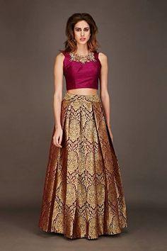 Gold brocade skirt with burgundy crop top only on Kalki Pakistani Dresses, Indian Dresses, Indian Outfits, Indian Sarees, Indian Attire, Indian Ethnic Wear, Tela Hindu, Festa Party, Lehenga Designs