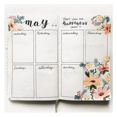 """526 Likes, 21 Comments - Bullet Journal and lettering (@my.first.bu.jo) on Instagram: """"New week, new flower spread! I really loved the colors I used this time! Happy monday! . . . .…"""""""