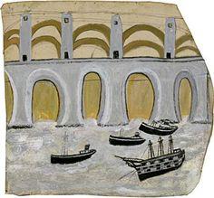 Boats under Saltash Bridge (Royal Albert Bridge) by St Ives artist Alfred Wallis