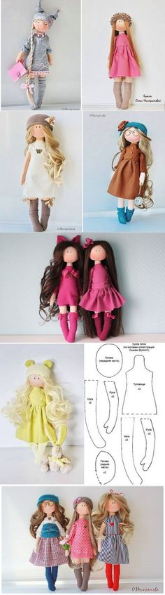 Sewing Patterns Dolls-Un mismo patron varias muñecas♥♥ Más - Куклы-милашки от российской рукодельницы Sock Dolls, Felt Dolls, Baby Dolls, Crochet Dolls, Dolls Dolls, Doll Crafts, Diy Doll, Doll Patterns Free, Doll Sewing Patterns