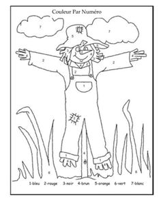 Halloween Color-by-Number Scarecrow Coloring Worksheet For Kids Halloween Worksheets, Worksheets For Kids, Thanksgiving Worksheets, Preschool Halloween, Fall Preschool, Art Worksheets, Kindergarten Worksheets, Thanksgiving Crafts, Colouring Pages