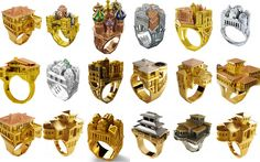 Architecture rings Philippe Tournaire, featuring structures based on Moscow, New York, Paris, Venice, and Florida.