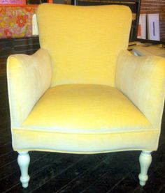 ReUpholstered Butter Yellow Velvet Arm Chair
