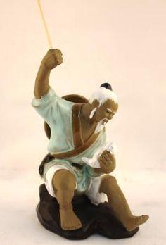 Chinese Shiwan Mud Man Fisherman Figure