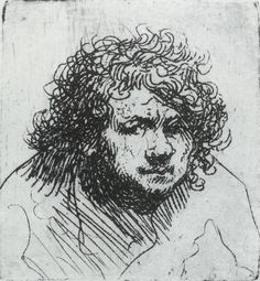 Rembrandt, the smallest and perhaps the earliest of his etched self portraits