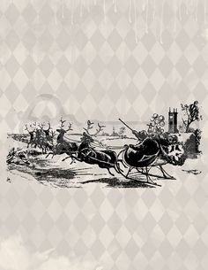 Vintage Santa Sleigh Reindeer Graphic Image No. by TanglesGraphics, $1.00