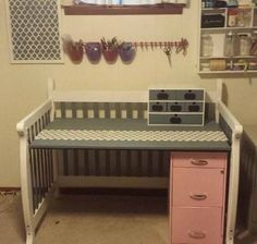 repurpose used baby crib into a desk...I like this basic design for my potting bench too!
