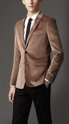 Fancy - Slim Fit Velvet Jacket by Burberry Burberry Jacket, Burberry Men, Mens Double Breasted Blazer, Velvet Slip Dress, Madrid, Looking Dapper, Mens Fall, Velvet Jacket, Men Style Tips