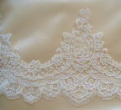 Ivory Lace Trim, Bridal Lace, Wedding Gown Lace, Alencon Lace, White Lace Trim  - ONE Yard