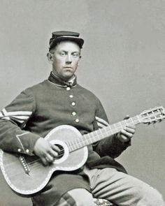 8 by 10 Civil War Photo Print Union Soldier Guitar
